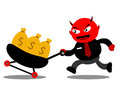 Evil businessman illustration graphic cartoon character of devil Royalty Free Stock Image