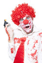 Evil Clown Holding Cap Gun On White Background Royalty Free Stock Photo