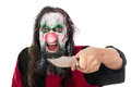 Evil clown threatening the beholder with a knife, isolated on wh Royalty Free Stock Photo