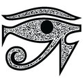 Evil Eye with floral elements in black and white tattoo style , Middle Eastern Religious amulet providing protection against ev