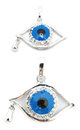 Evil eye pendant with teardrop perspectives of an isolated on white Royalty Free Stock Image