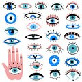 Evil eyes. Hand drawn various talismans, different shapes mystic elements, luck occult amulet, magic alchemy sketch eye Royalty Free Stock Photo