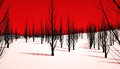 Evil forest an featuring dead black trees and red sky Stock Image