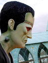 Evil frankenstein statue profile of frankensteins monster in for halloween Royalty Free Stock Photos