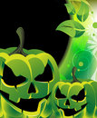 Evil  green Jack O Lanterns Royalty Free Stock Photos