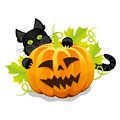 Evil halloween pumpkin and black cat this is file of eps format Royalty Free Stock Photo