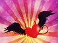Evil heart valentine red with black angel wings on background with rays Royalty Free Stock Photography