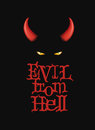 Evil from Hell. T-Shirt design, poster art. Red devi horns and demon eyes on the dark background.