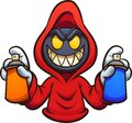 Evil hooded character with graffiti spray cans Royalty Free Stock Photo