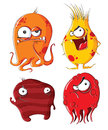 Evil monsters four funny on white background Stock Photography