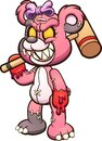 Evil pink Teddy bear holding a big mallet. Royalty Free Stock Photo