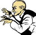 Evil scientist comic book style illustrated with scary hands Royalty Free Stock Photography