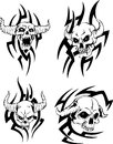 Evil skulls devil set of black and white vector illustrations Stock Photography