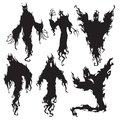 Evil spirit silhouette. Halloween dark night devil, nightmare demon or ghost silhouettes. Flying metaphysical vector