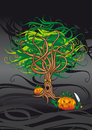 Evil tree dark background with and lantern pumpkins Stock Images
