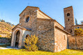 Evocative religiosity of a romanesque church the style st john at the eighth also known as tho in northern italy offers magical Royalty Free Stock Photography