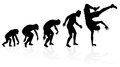 Evolution of the b boy dancer illustration depicting a male from ape to man to in silhouette Royalty Free Stock Photography