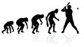 Evolution of a baseball player illustration depicting the male from ape to man to in silhouette Royalty Free Stock Photos