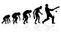 Evolution of a cricket player illustration depicting the male from ape to man to batsman in silhouette Royalty Free Stock Image