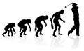 Evolution of a golf player illustration depicting the male from ape to man to in silhouette Stock Photography