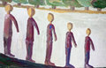 Evolution of humans abstract concept child naive handmade art oil illustration Stock Photos