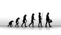 Evolution ironic illustration of human up to modern times Royalty Free Stock Photos