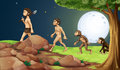 Evolution of man in the hilltop illustration Stock Images