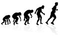 Evolution of the runner illustration depicting a male from ape to man to long distance in silhouette Royalty Free Stock Photos