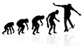 Evolution of a skateboarder illustration depicting the male from ape to man to skater in silhouette Stock Image
