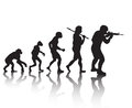 Evolution soldiers vector silhouette of the of future developments Royalty Free Stock Photos