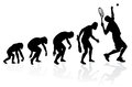 Evolution of a tennis player illustration depicting the male from ape to man to in silhouette Royalty Free Stock Photos
