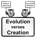 Evolution verses creation monochrome sign isolated on white background Stock Photos
