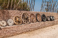 Evolution of wheels the the wheel starting from a stone wheel and ending with a steel belted radial tire Stock Photography