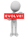 Evolve text on a red banner held up by a little d man on white background Royalty Free Stock Photo