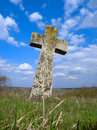 Exalted religious stone cross, cemetery, heaven Stock Photography