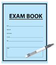 Exam book and pen examination for exams in blue cover vector illustration Stock Photography