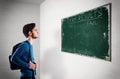 Photo : Exam results chalkboard boy worry