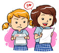 Exam results young girls receive their with different expressions Royalty Free Stock Images