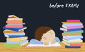 Exam student stress. Schoolboy sleeping on books. Royalty Free Stock Photo