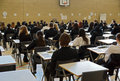 Exam time school children seated ready to do their test Royalty Free Stock Photo