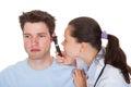 Examining patient的ear 生 免版税库存图片