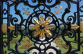 Example of craftsmanship wrought iron fence Stock Photo