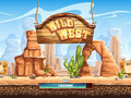 Example of the loading screen for a computer game wild west Stock Photos