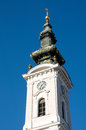 Example of a luxury glidded tower of a neo baroque church in novi sad is located at the end the central street the is richly Royalty Free Stock Image
