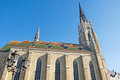 Example of monumental beautiful gothic cathedral in the central square in downtown novi sad there are buildings built in various Stock Photography