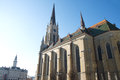 Example of monumental beautiful gothic cathedral in the central square in downtown novi sad there are buildings built in various Royalty Free Stock Photos