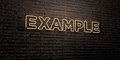 EXAMPLE -Realistic Neon Sign on Brick Wall background - 3D rendered royalty free stock image
