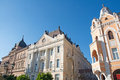 Examples of representative palaces in romanticism architecture s style are located on the central square downtown novi sad Stock Photography