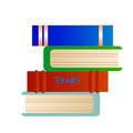 Exams books cartoon with text Royalty Free Stock Image
