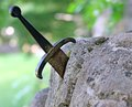 Excalibur the famous sword in the stone of king arthur forest Royalty Free Stock Photography